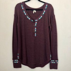 Free People Maroon Arrow Knit Long Sleeve Shirt